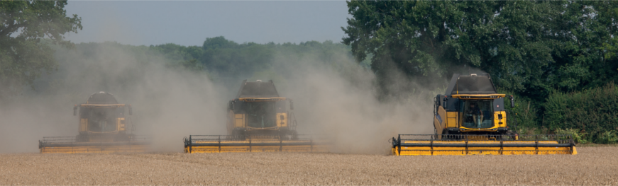 three combine harvesters at work