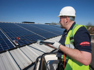 Specialist cleaning of solar PV panels is one of the services offered by T H WHITE