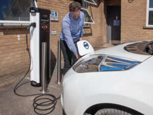 The electric vehicle charging point at T H WHITE's Devizes offices