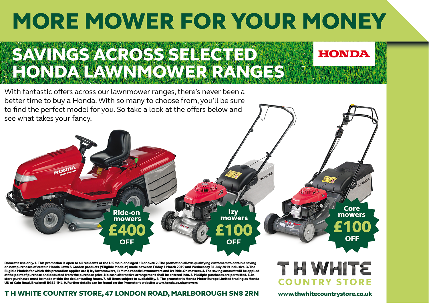 HUGE SAVINGS ON HONDA LAWNMOWERS