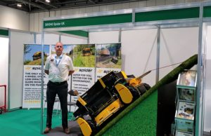 Area Sales Manager Stuart Winwood with the Spider stand at 2019 Safety & Health Expo
