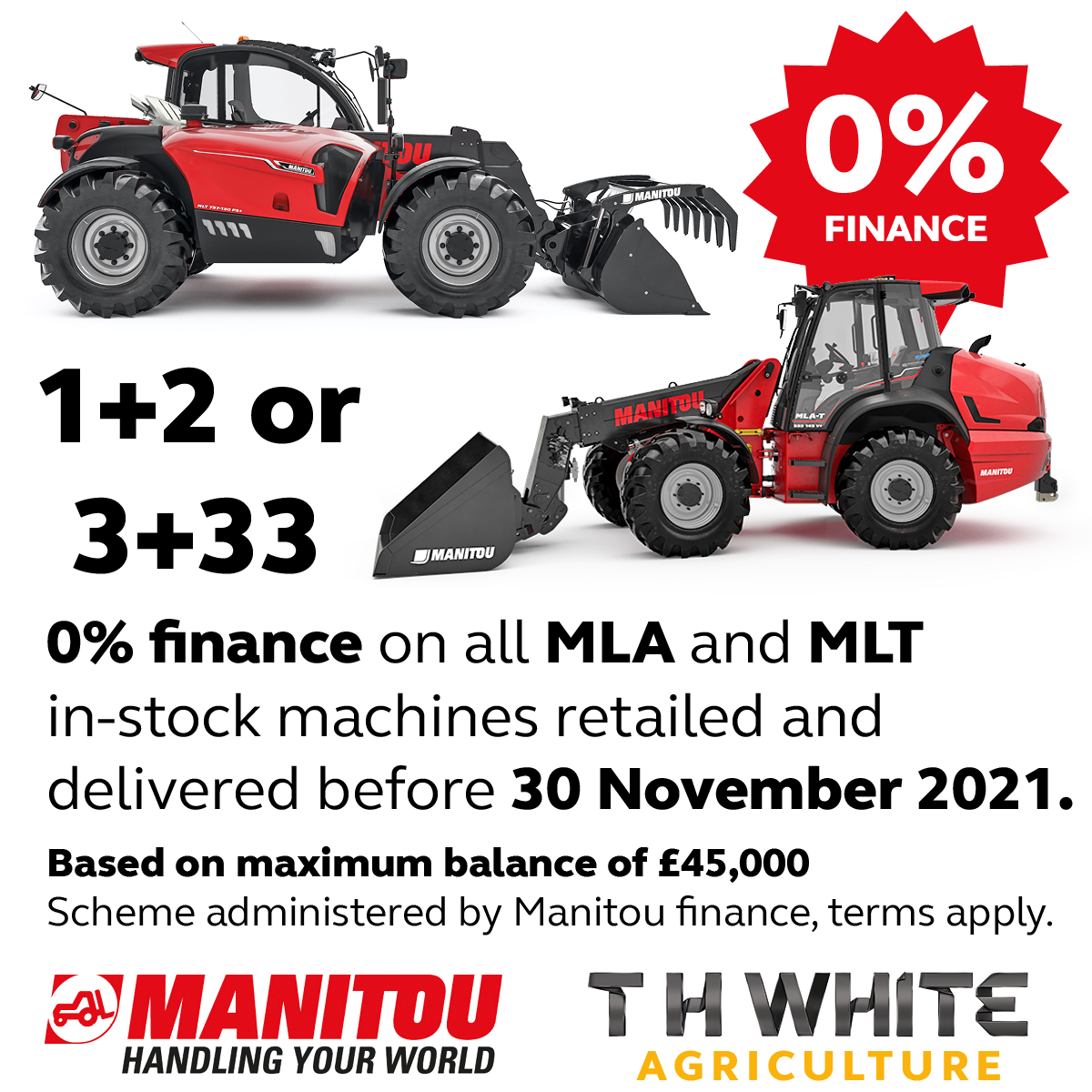 0% finance on in-stock Manitou MLA and MLT